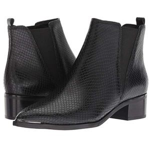 Marc Fisher LTD Yale black snake leather booties